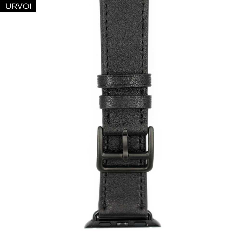 Кожаный ремешок URVOI для apple watch series 5 4 3 2 1 single tour для iwatch ремешок классический дизайн весна 2020