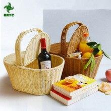 Корзина для покупок, корзина для хранения рук, отель Цин, чистая вода, lan, имитация плетёная ротанговая Корзина для пикника, плетеная корзина для хранения