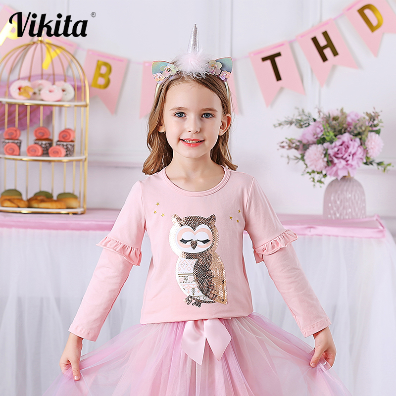 VIKITA Girls Tees Long Sleeve Children Cotton T-shirt Kids Spring Autumn Unicorn Owl Fox Rainbow T shirt Children Clothing 1