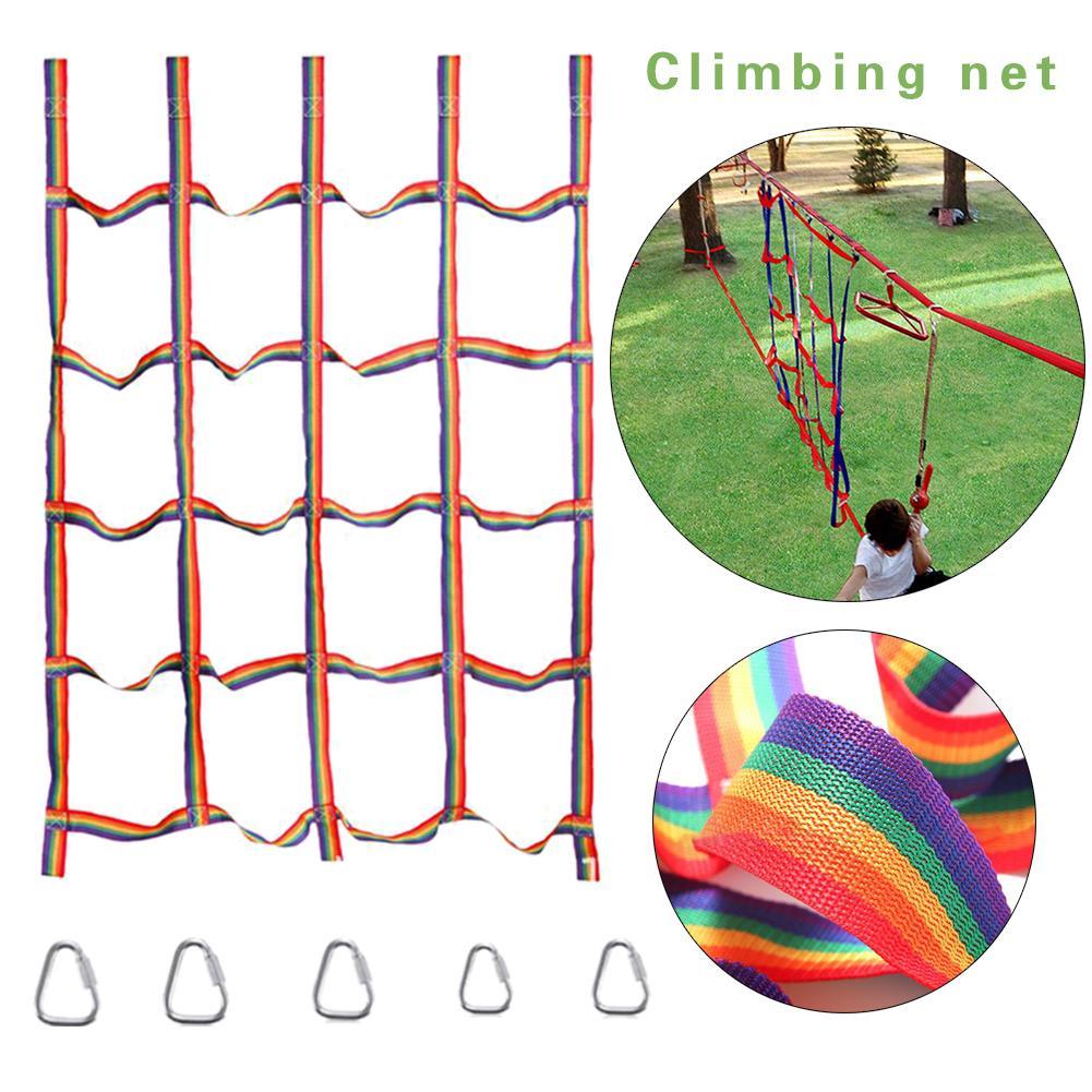 Outdoor Rainbow Ribbon Net Kids Children Climbing Net Mesh Rope Ladder Backyard Game Outdoor Gym Sports Ropes Backyard Game