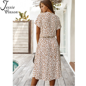 Jessie Vinson Dots Print White Summer Dress  2