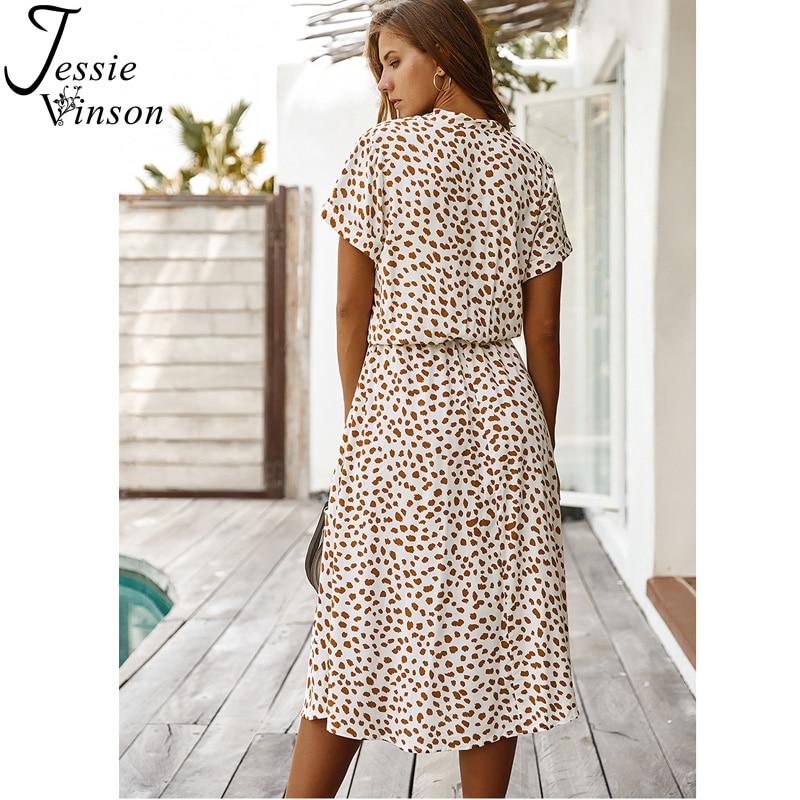 Jessie Vinson Dots Print White Summer Dress Women Short Sleeve Tunic Midi Dress Casual  Boho Beach Dress Vestidos 2020 ZA Dress 1