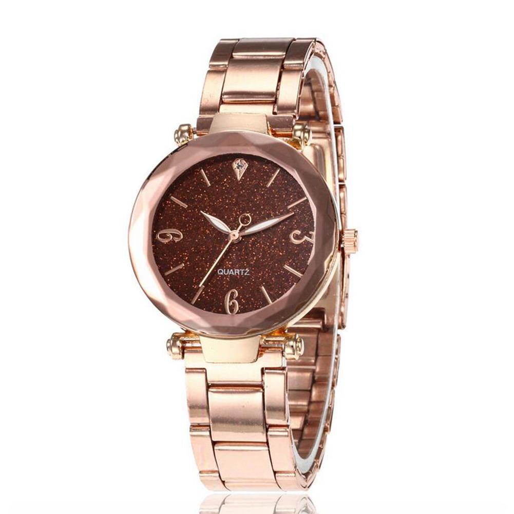 Women Bright Steel Band Diamond Round Dial Watch Fashion Elegant WristWatch