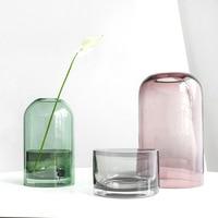 Nordic Minimalist Design Glass Cover Candlestick Transparent Glass Vase Flower Art Shape Flower Arrangement Floral Decoration