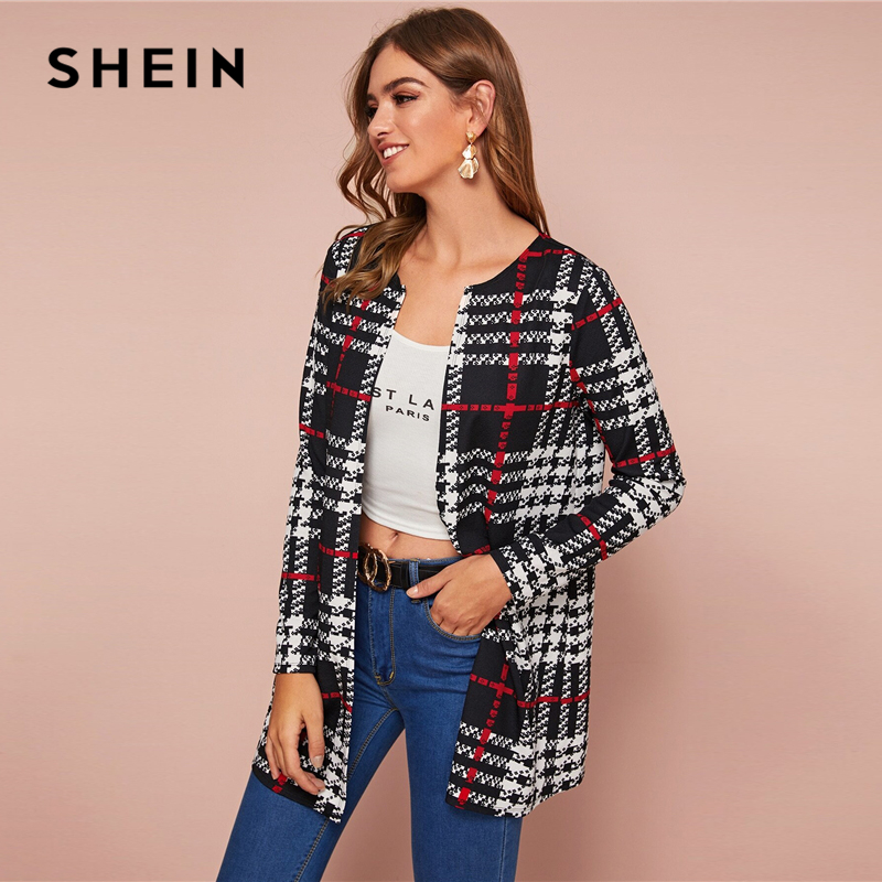 SHEIN Black and White Plaid Print Open Front Coat Women Spring Autumn Long Sleeve O-neck Outwear Casual Long Coats 2