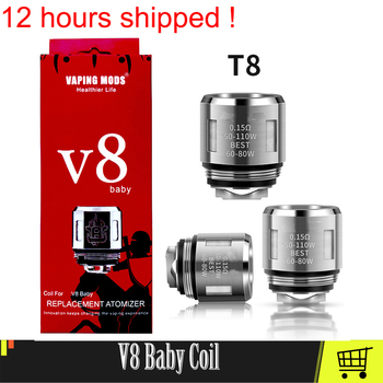 цена на Authentic V8 Baby Vape Coil Head For V8 Big Baby Atomizer Evaporator Heater Core Baby Mesh T8 M2 Coil Electronic Cigarette Cores