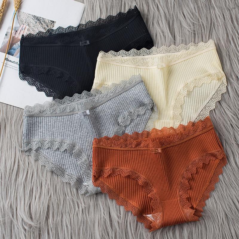 3 pz/lotto mutandine di cotone donna intimo confortevole Sexy mutande a vita media Lingerie femminile slip da donna di grandi dimensioni 1