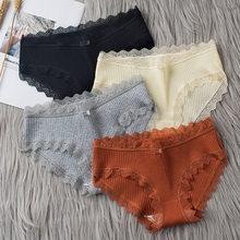 3 pièces/lot coton culottes femmes confortables sous-vêtements Sexy taille moyenne caleçon femme Lingerie grande taille dames slips
