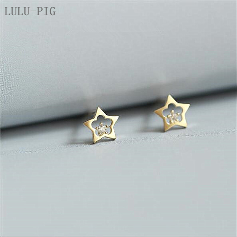 LULU-PIG New User BONUS Hot new Silver plated Japanese and Korean plum blossom cupped star cute earrings CED003 image