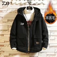 Daiwa Рыбацкая куртка зимняя утепленная термальная Рыбацкая рубашка флисовая карманная Мужская рыболовная одежда с капюшоном мужская одежда для зимней рубашки