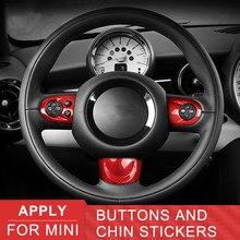 For MINI Carbon Fiber Car Stickers Interior decoration Car Steering Wheel Button Cover Chin Sticker For Mini Cooper R55 R56 R57