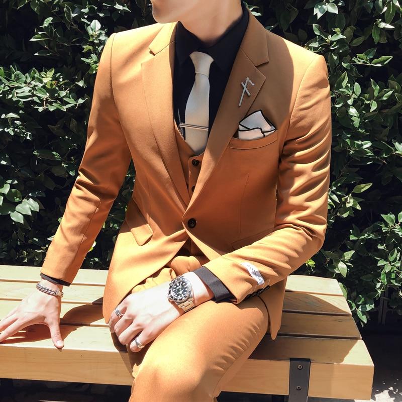 Men Suits Blazer With Pants Tuxedo 3xl Costume Homme Mariage Black 3pc Suit Men British Style Designs Wedding Slim Fit Apricot