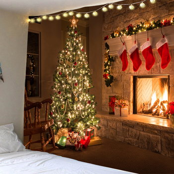 2020 Wall Hanging Tapestry Merry Christmas Tree Reindeer Fireplace Winter Forest Bedroom Living Room Dorm boho decor
