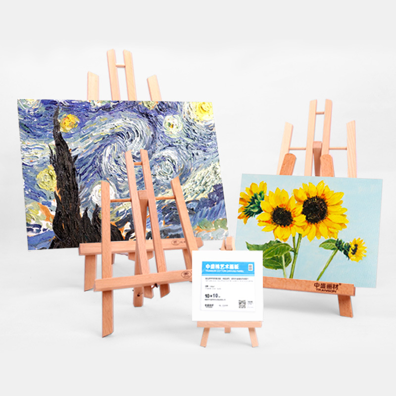 ZHONGSHENG Drawing Sets Micro Building Blocks Floor Triangular Small Easel Desktop Multi-Style Desktop Display Small Easel Oil P