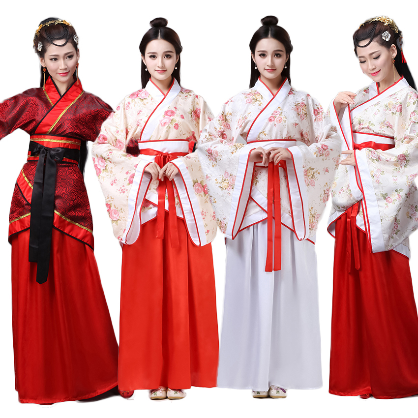Chinese Spring Festival New Year Costumes Dresses For Woman Stage Wear Folk Dance Robe Hanfu Tang Suit Floral Clothing