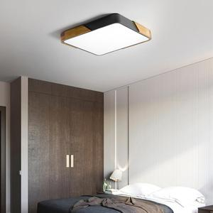 Image 5 - LED Ceiling Light Modern Nordic Round Lamp Wooden Home Living Room Bedroom Study Surface Mounted Lighting Fixture Remote Control