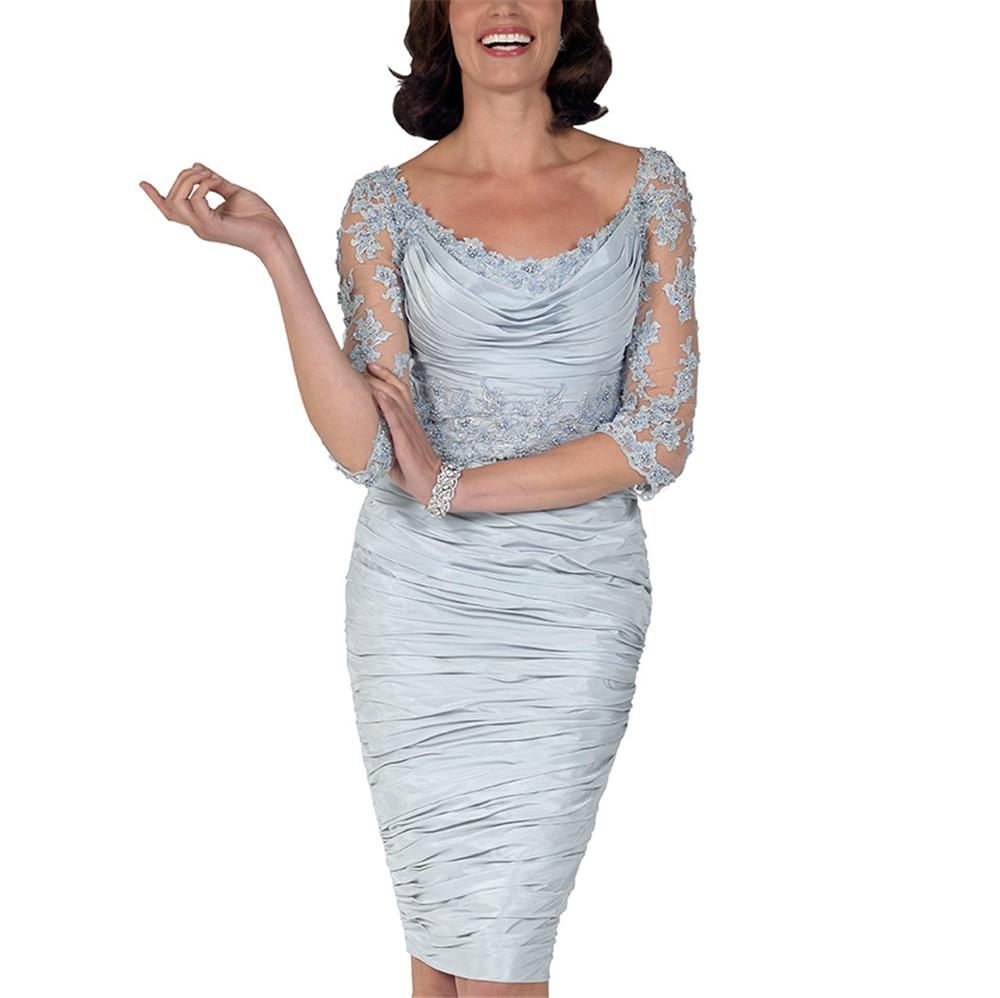 Silver Gray Women's Dresses Half Sleeves Scoop Satin Sheath Vestidos De Novia 2019 Mother Of The Bride Dresses Plus Size