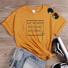 ONSEME My Worth Is Found In Christ T Shirt Women Christian Graphic Tees Loose Cotton T Shirts Female Faith Tee Tops Tumblr