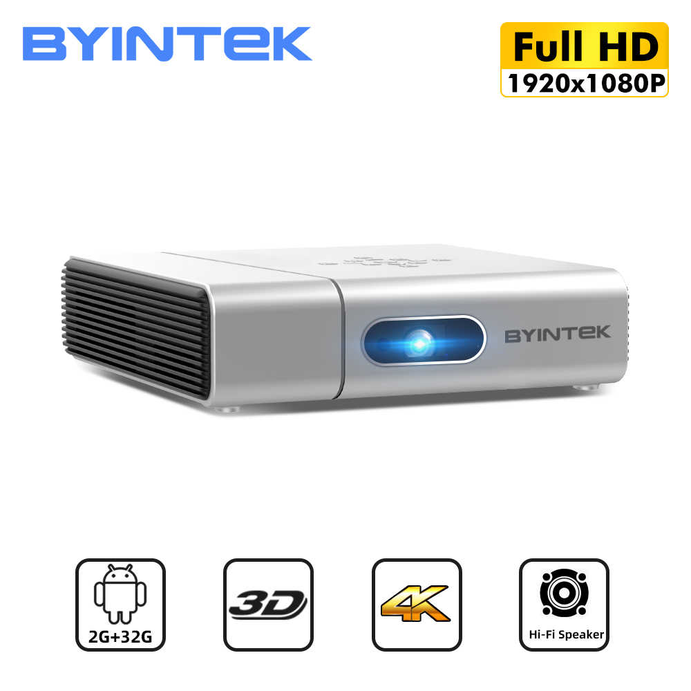 BYINTEK U50 Full HD 1080P Mini 3D 4K Android Wifi inteligente láser portátil LED, Proyector DLP Proyector para Smartphone de cine