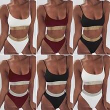 Seksi kadın Bikini yüksek bel Bikini seti Lace Up mayo kadınlar Bikini 2 adet bandaj mayo Sequins bayanlar Beachwear Biuqini
