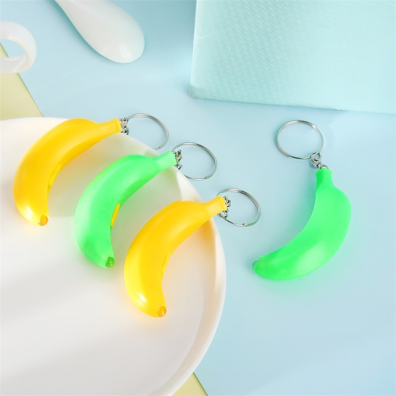 Yellow Banana Shaped Keychain Plastic Housing LED Light Lamp Keyring Jewelry Pendents Key Ring