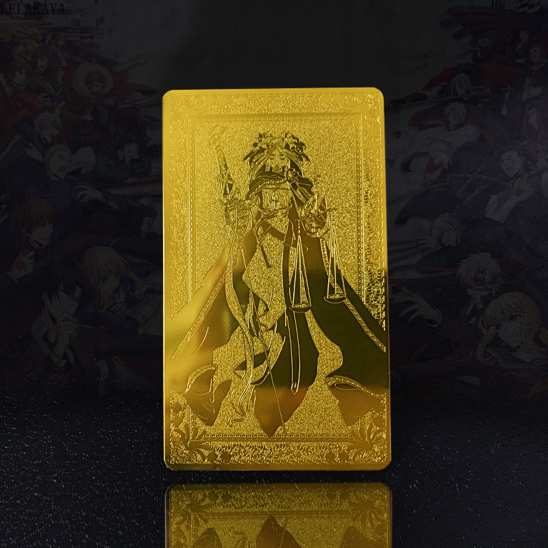 1PCS New Anime Fate Grand Order FGO Physical Gold Card Double Side Nero Jeanne D'Arc Style Cosplay Grade Collection Cards Doll