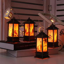 Luces navideñas lámpara de mesa de exterior LED lámpara pintada candelabro luces Vintage noche luz Santa muñeco de nieve alce lámpara de pie Jesús