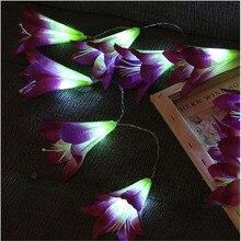 Батарейный блок, светодиодный светильник, имитация гирлянды, цветок лилии, Рождественское украшение, украшение для помещений, свадебные украшения