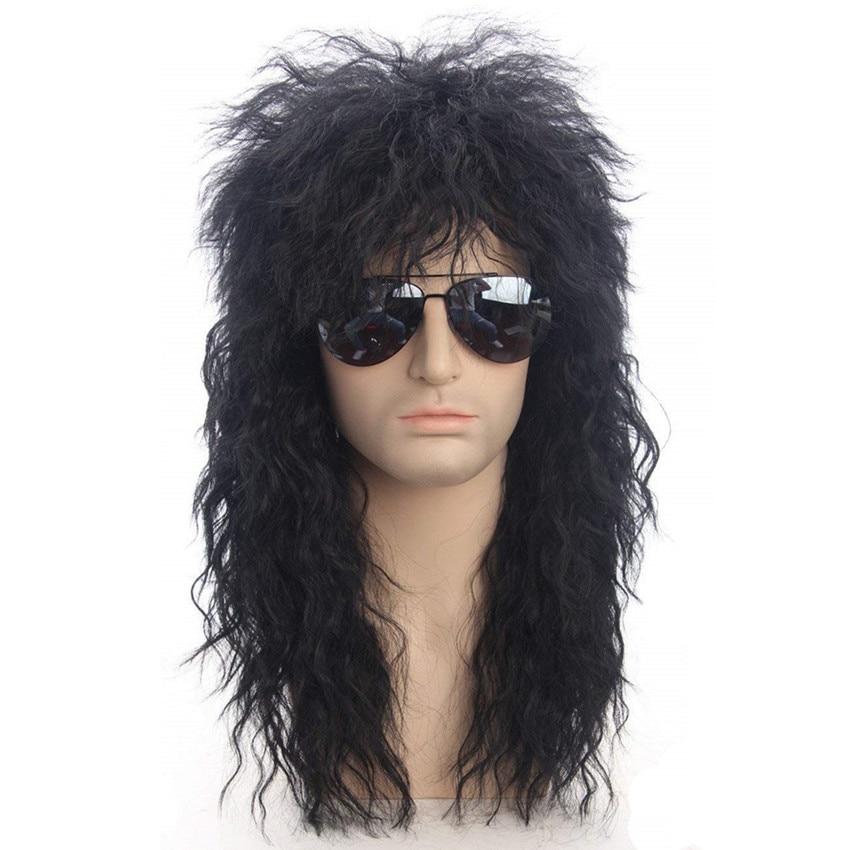 Gres мужской длинный синтетический удлинитель волос парик черный цвет женский шиньон панк пышный головной убор для Хэллоуина высокотемперат...