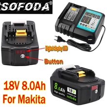 2PCS 18V 8.0Ah Rechargeable Battery 18000mah LiIon Battery Replacement Power Tool Battery for MAKITA BL1860 BL1830+3A Charger