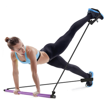 Pilates Exercise Stick Fitness Resistance Bands Rope Puller Home Yoga Gym Toning Pilates Bar for Body Muscle Workout Abdominal manila hemp 1pc 5cmx12meter 2 x 40ft battle rope exercise batting ropes gym muscle toning metabolic workout