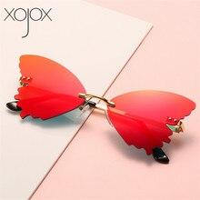 XojoX 2020 Rimless Sunglasses Men Women Luruxy Butterfly sha