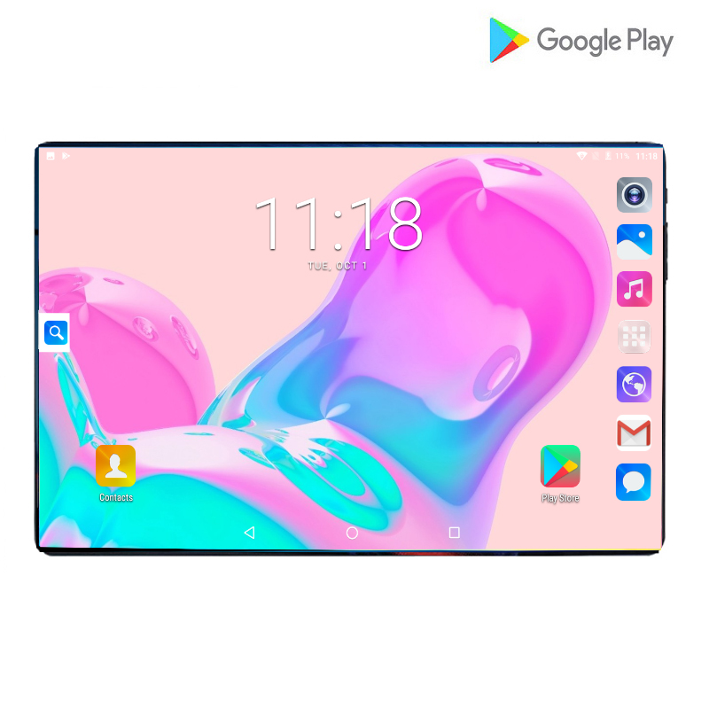 2019 Global Version 10 Inch Tablet 4G LTE Android 9.0 Octa Core 8.0MP IPS 2.5D Large Screen RAM 6GB ROM 64GB GPS WIFI Tablet 10