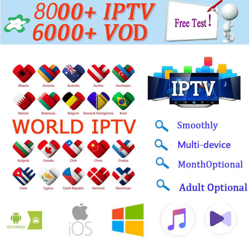 World 8000 + Live-Europe IPTV Bahasa Perancis Spanyol Belanda Arab Portugal Inggris IPTV Berlangganan Gratis Uji Olahraga Android TV Box ssmart TV PC