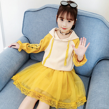 2019 Autumn Teenage Girl Clothes Fashion Embroidery Flower Pullover Sweatshirt+Lace Skirt Set Tracksuit For Girls Outfits 10 12Y