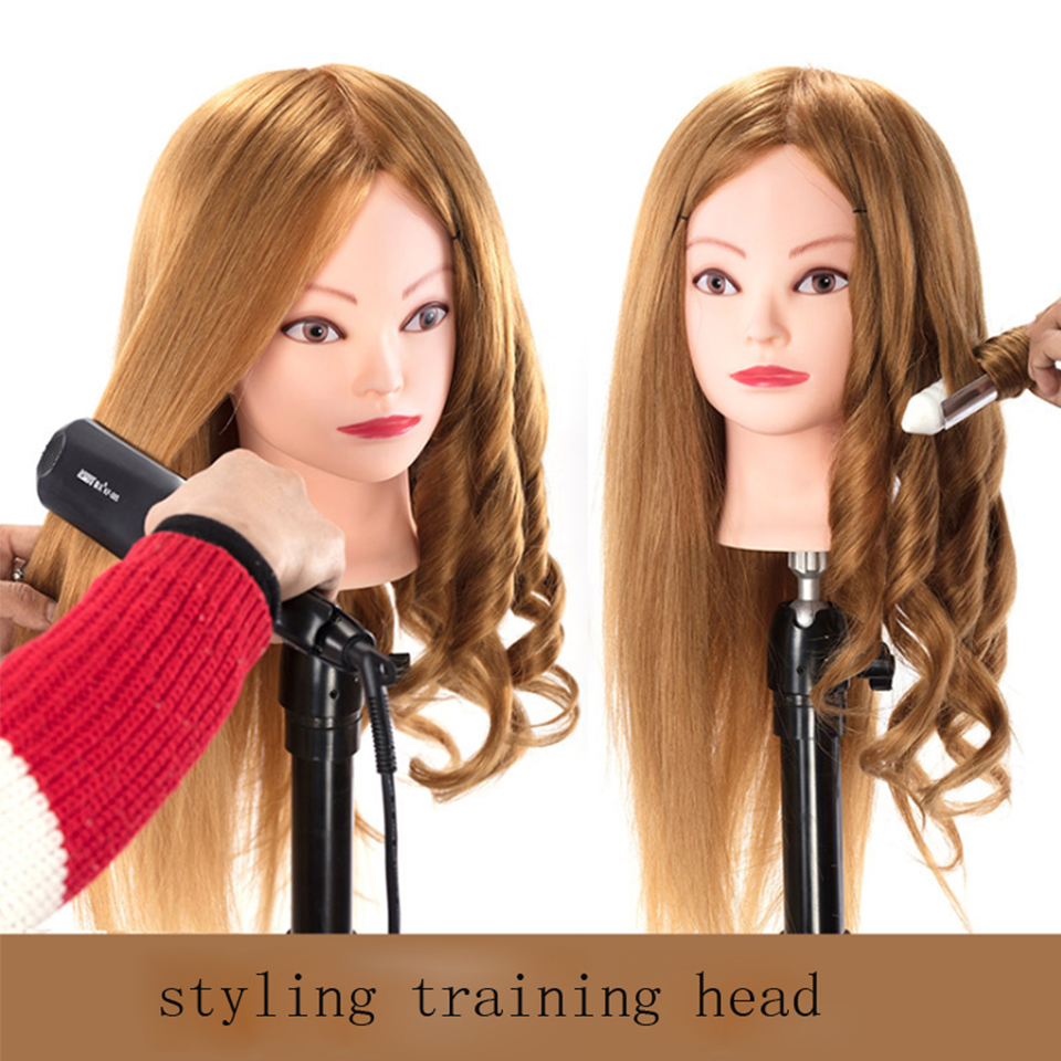 Female Mannequin Training Head With 60 cm Long 85% Real Hair Styling Head Dummy Dolls Manikin Head For Hairdressers Hairstyles