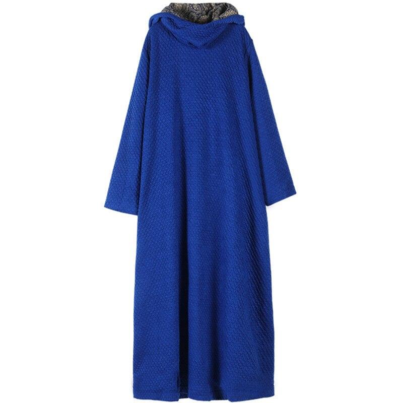 [EWQ] 2019 printemps automne à capuche col à manches longues solide Patchwork tricot pulls en vrac grande taille robe femmes AH06905 - 5