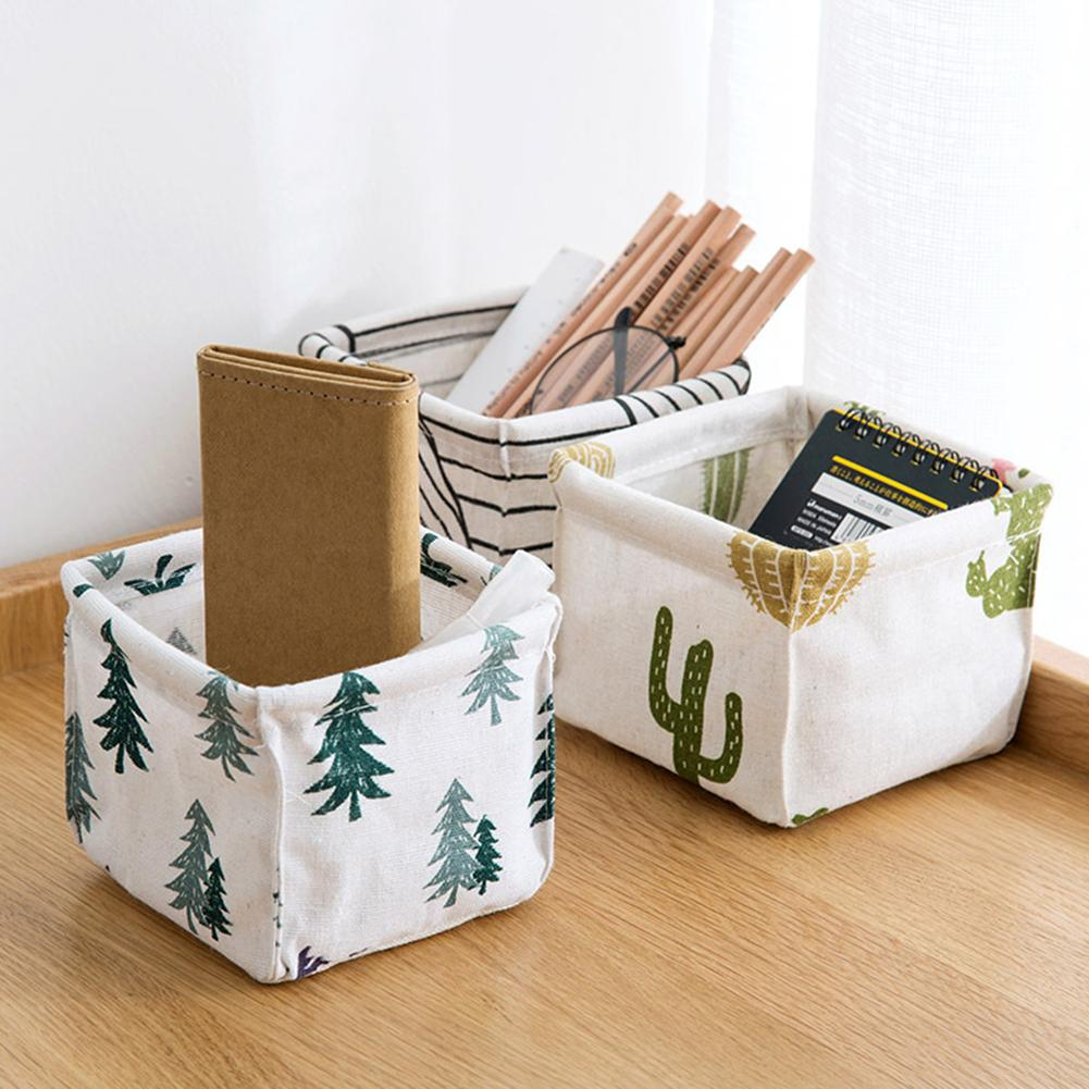 Tree Stripe Cactus Home Desktop Box Makeup Organizer Foldable Storage Basket Comestic Brush Container Hot