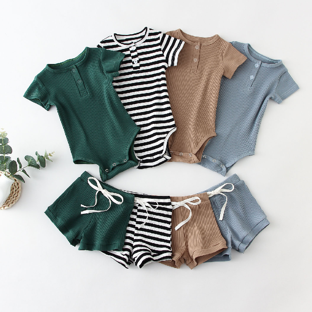 LULLAMAPA קיץ תינוקות תינוק ילד בגדי סט כותנה קצר שרוול תינוק בגד גוף + צפצף לפעוטות ילד תלבושות אביב יילוד בגדים