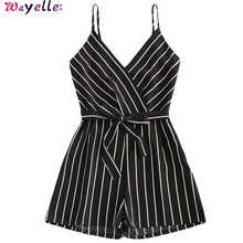 Rompers Women Jumpsuits Striped Female Bow Belt V-Neck Short Wide Leg Straps Sleeveless Summer Beach Womens