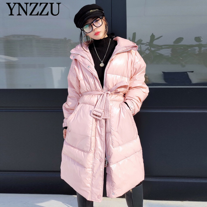 Women Bright Down Jacket Winter 2019 New Arrival Hooded Female Long Outwear Oversized Fashion Thick Warm Coat Chic YNZZU 9O117