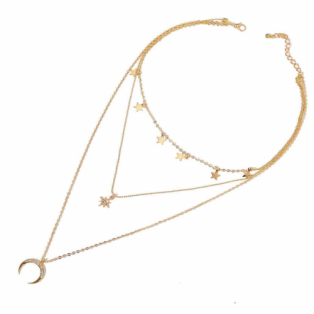 จี้ Pentagram Clavicle CHAIN VINTAGE Star Crescent สามชั้นสร้อยคอ