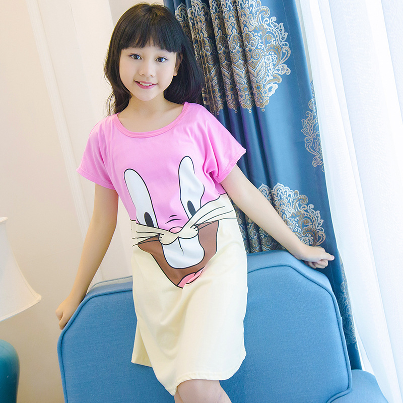 10-Selectable GIRL'S Nightgown Summer 2019 New Style CHILDREN'S Pajamas Big Boy GIRL'S Short Sleeve Tracksuit