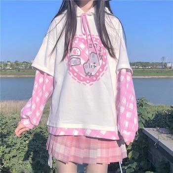 Oversize Kawaii Soft Girl Patchwork Hooded Sweatshirts Japanese Sweet Cartoon Printed Hoodies Women Full Sleeve Pullover