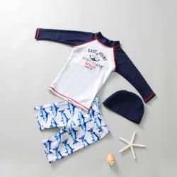 Новый стиль, Детские купальники, плавки, комплект для мальчиков, Солнцезащитный купальник, короткий рукав, разрез, Быстросохнущий