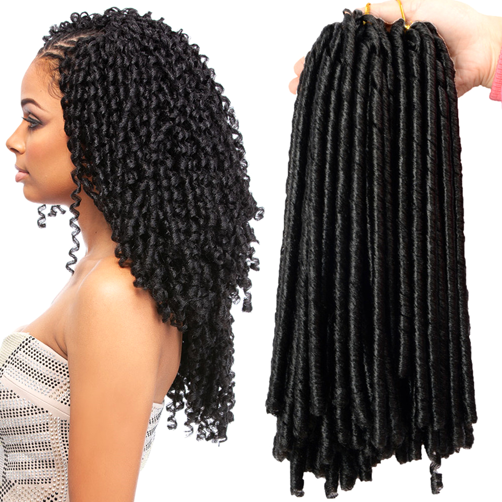 Sallyhair 14inch 70g/pack Crochet Braids Synthetic Braiding Hair Extension Afro Hairstyles Soft Dreadlock Brown Black Thick Full