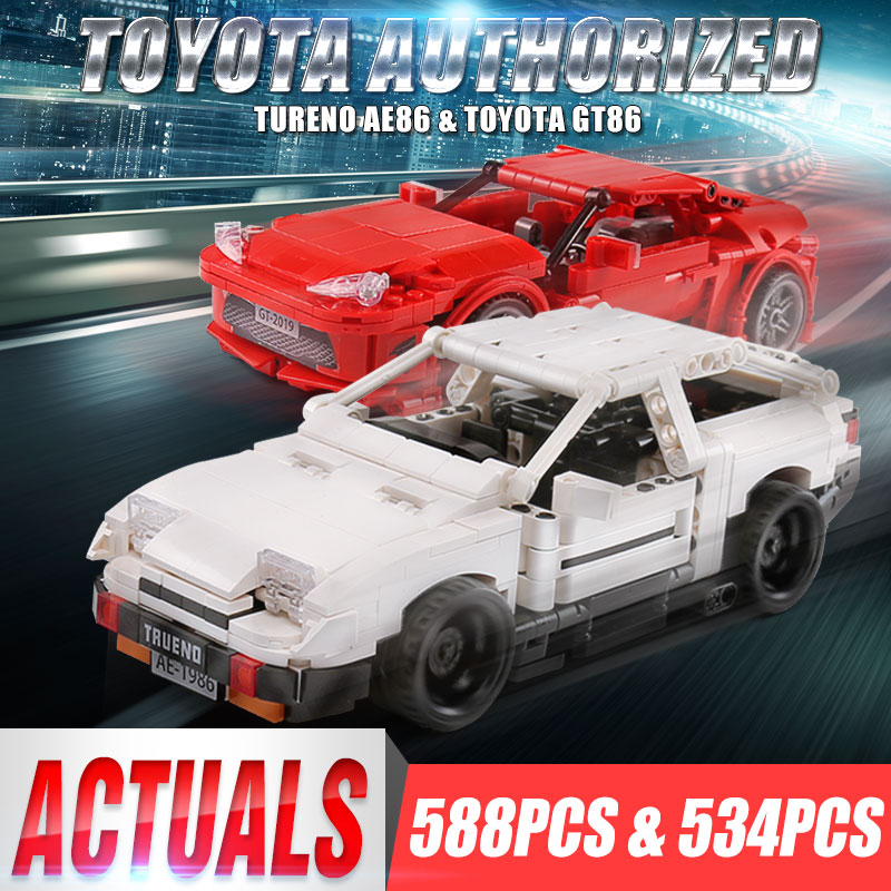 Genuine Authorization Technic Creative MOC Car Initial D Toyota AE86 Cartoon Motor Building Blocks Bricks Compatible  Toys