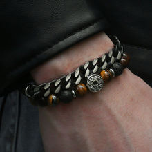 Уникальный натуральный камень тигровый глаз мужской браслет