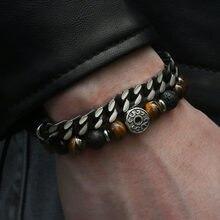 Einzigartige Natürliche Tiger Eye Stein herren Perlen Armband Edelstahl Cuban Link Kette Armbänder Männlichen Geschenke Dropshipping 8