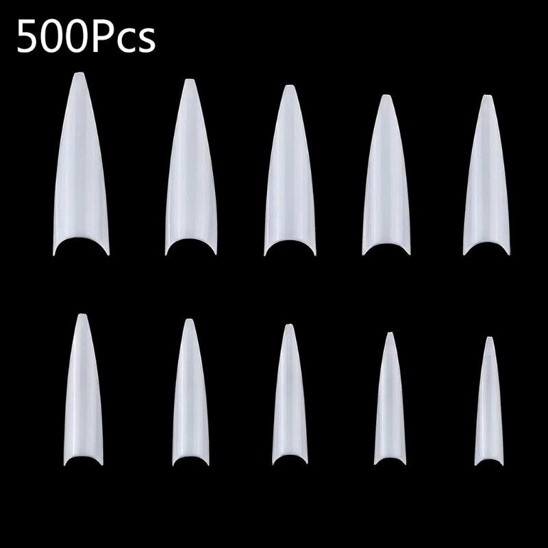 500pcs gel manicure decoracao unhas arte dicas cobertura completa curva francesa artificial claro falso manicure decoracoes